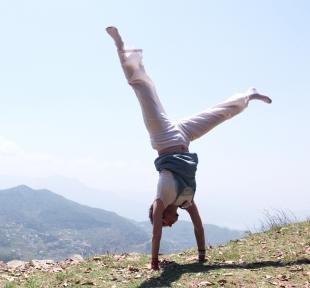 adho mukha vrksasana posture quilibre mains maitri yoga